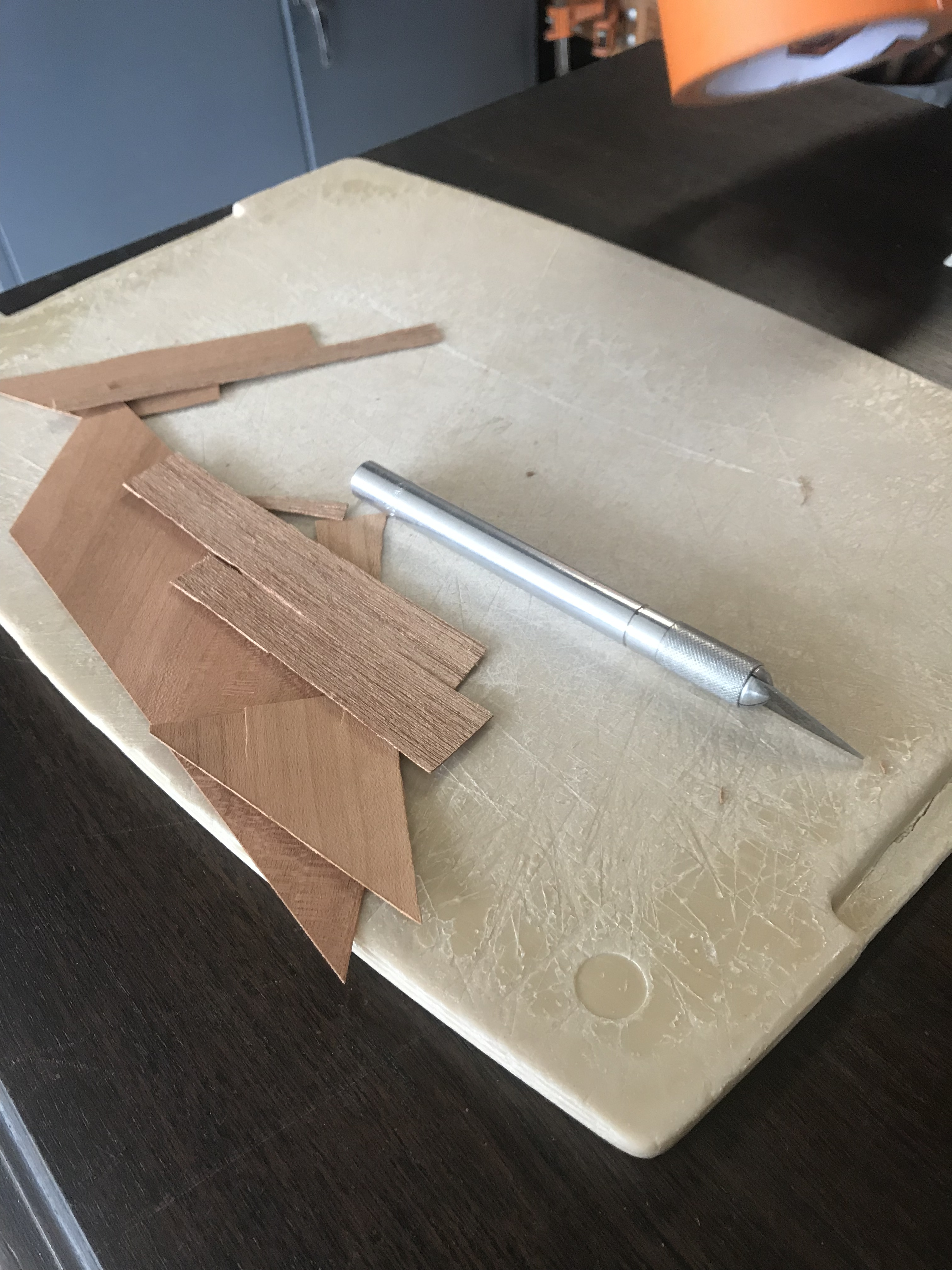 Cutting board and wood veneer pieces